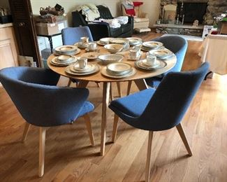 Like new modern Canadel Downtown series birch kitchen table with chambray blue upholstered chairs