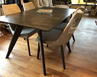 Modern Canadel Downtown series dining table & 5 chairs - gray/brown finish and griege upholstered chairs
