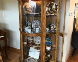 heavy oak footed curved glass display cabinet