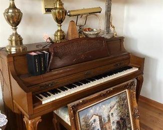 Wurlitzer upright piano, Stiffel brass lamps