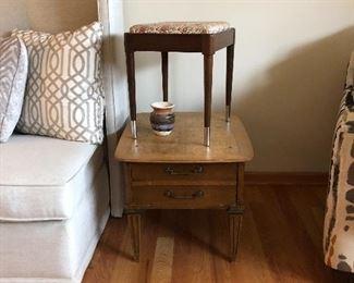 MCM Lane 2 drawer end table and vanity stool