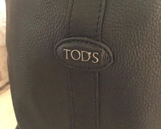 TOD's black leather weekend bag