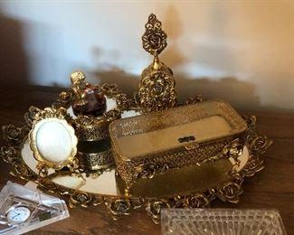 gilded dresser set