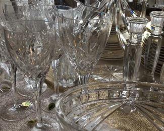 Waterford stemware, candlesticks, vases, lamps, clock