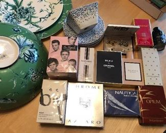 Cologne and perfume new  Chanel Gucci Givenchy Yves St Laurent next to Wedgwood x Jasper Conran garden salad bowl, plate & platter