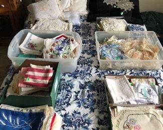 Vintage & antique lace, needlework, napkins, towels, runners, tablecloths, handkerchiefs