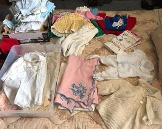 Vintage baby layette including Marshall Fields Saks Nannette Celeste