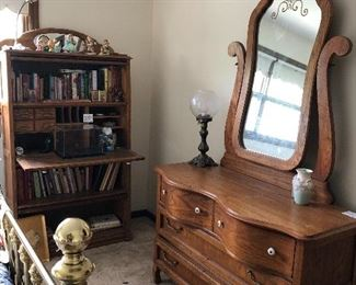 Oak dresser with mirror and oak secretary with barrister shelves