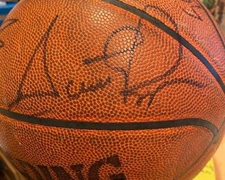 Scottie Pippen signed basketball - several other signatures as well.