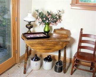 Drop Leaf table, Stoneware Jugs