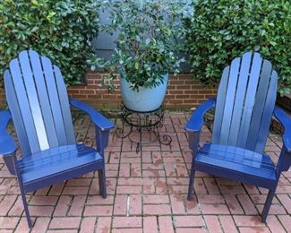 Nice pair of blue wooden Adirondack chairs, blue glazed terra cotta planter in wire basket.