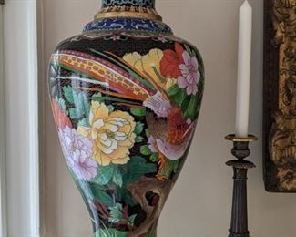 LOVE the colors in this large pair of cloisonne vases!