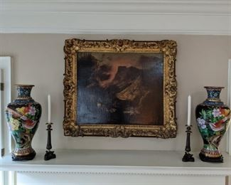 "Antique European oil on canvas in fabby gilt wood frame, pair of French bronze/brass candlesticks and pair of L-R facing 18"" cloisonne vases, on wooden stands."