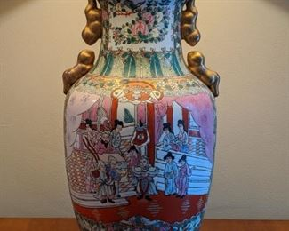 Asian Happy Family porcelain table lamp.