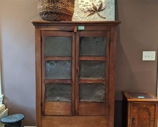"WONDERFUL antique pine pie safe, from Centre, AL (Weiss Lake), with big ol' basket and 3-D tin sign, with high cotton; measures 5' 7""T x 3' 6""W x 16""D."
