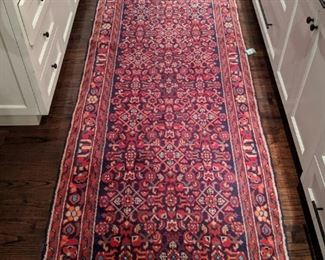 "Vintage  Persian hand-woven wool Malayer runner, measures 3' 5"" x 13' 5""."