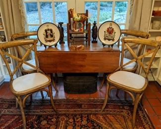 Vintage drop-leaf pine table with set/4 vintage bentwood pine chairs, w/upholstered side chairs, pair of porcelain Chinese ancestor plates, vintage wood/woven child's chair, earthenware Tang horse and hand-carved Asain figures,.