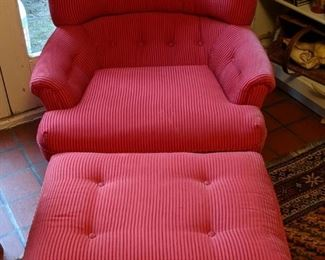 Comfy corduroy  upholstered armchair, w/matching ottoman - wooden bun feet on both.