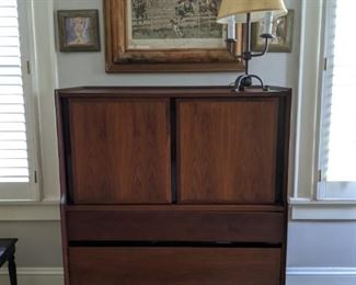 "Vintage 6-drawer, 2-door walnut dresser, by Dillingham's ""Esprit"" collection."