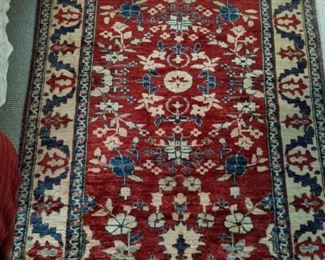 "Vintage  Persian hand-woven wool Persian design rug,  measures 3' 9"" x 5' 6""."