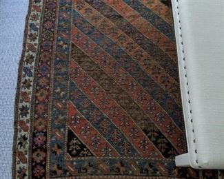 "Vintage  Persian hand-woven wool Malayer rug,  measures 6' 4"" x 4' 1""."