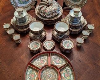 56-piece set of vintage Asian Rose Canton china.