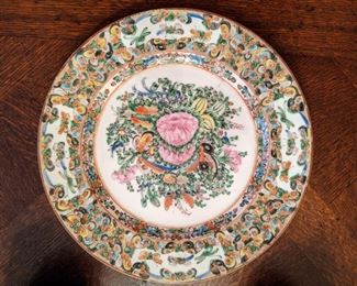 Close-up of the Rose Canton china plate.