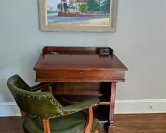 "Vintage carved walnut Senatorial lectern, from TN, with ""page"" button and green pleather armchair."