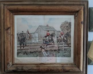"Antique hunting print in vintage pine frame ""In & Out, over the Jericho Road, Mr. F. Gray Griswold, Master, October, 1892""."