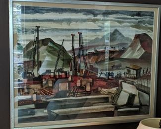 LOVE this matted/framed original Russian Industrial watercolor, by Vasilly Lesin.