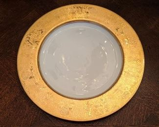 "Set/8 Hutschenreuther (Germany) heavy gold encrusted 10 3/4"" dinner plates; 22K gold trim."