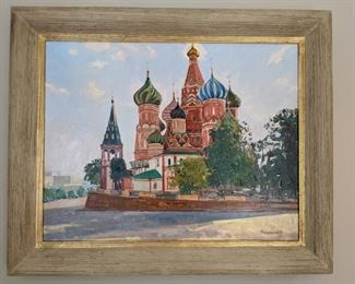 "Nicely framed original oil on canvas, ""Red Square"" by Russian artist, Dmitriy Proshkin."
