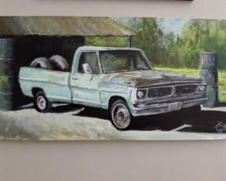 LOVE this original oil on board vintage pickup, by Lamar Gilstrap.