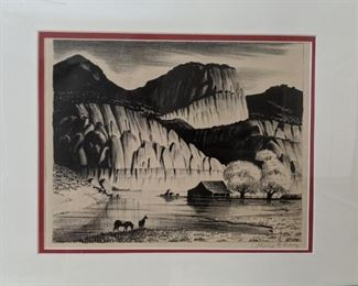 Nicely framed/matted original pen/pencil, on paper, by listed artist Philip Clieney.