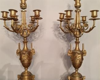 Gorgeous pair of French gilt bronze 5-light candelabra, with all the right details!