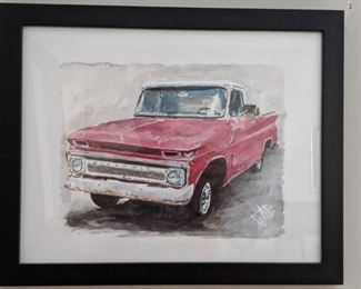 Framed, original watercolor of '66 Chevy pickup truck, by Lamar Gilstrap - SWOON!