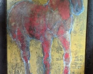 Wonderful contemporary artwork of red horse, nicely framed.