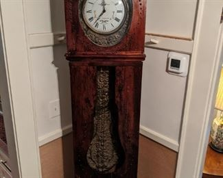"Vintage Howard Miller Louis Jaquine St. Etienne Tall Clock, Morbier Style French clock, in pine case, with brass nailhead detail, measures 7' 5""T x 18""W x 8""D."