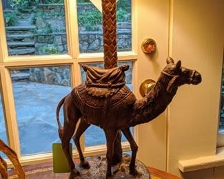 Sweet Maitland-Smith Metal camel table lamp.