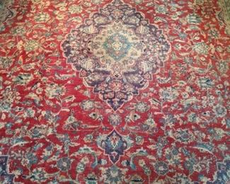 "Vintage Persian Tabriz rug, hand-woven, 100% wool face, measures 7' 3"" x 10' 4""."