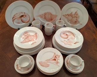 "42-piece set of Fitz & Floyd ""Coquille"" china, active pattern 1977 - 1992."