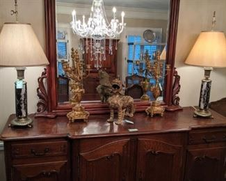 "Here's the matching oak French sideboard, with roaring Asian brass foo dog and pair of Stiffel table lamps.        The server measures 6' 6""L x 3' 5"" T x 23""D.                      The mirror is separate and adds a nice touch of light to the dining room."