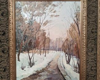 Nicely framed, original oil on canvas, by Russian artist Ralif Ahmetsin.