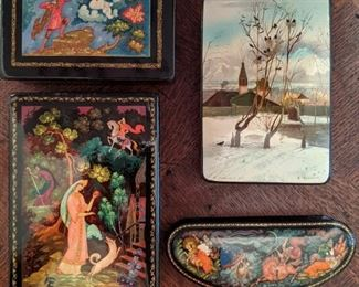 Small collection of hand-painted Russian lacquered boxes, artist signed