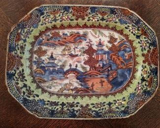 LOVE the colors in this antique octagonal Asian porcelain platter.
