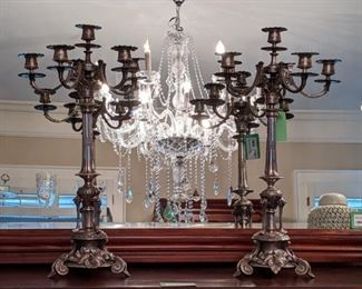 "Yeah, baby, Mama pulled out the good stuff for this sale. Even though there is a pair of dueling twin daughters of this client, these beauties escaped unscathed and are ready to be swooped up by the discerning buyer, that you are.                                                                                                      23"" tall, 6-light silverplated candelabra for your pleasure."