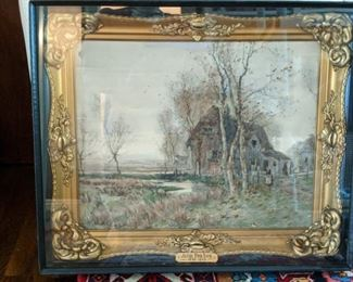 I've always admired an antique gilt wood framed piece of art in a shadow box.                                                                          This is an original watercolor, by Englishman John Parker, 1839 - 1915, which means he's no longer painting.