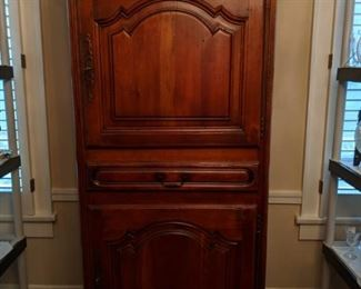 Wonderful French walnut bonnetiere, the finishing piece for the glorious dining room suite.