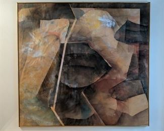 "Large, contemporary watercolor, by GA State art professor, Jim Thompson, 1976; measures 5' 5"" x 6'."