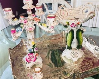 beautiful silver plated trays and porcelain